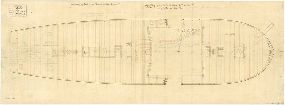 Deck, quarter & forecastle plan of 'Phoenix' (1783)