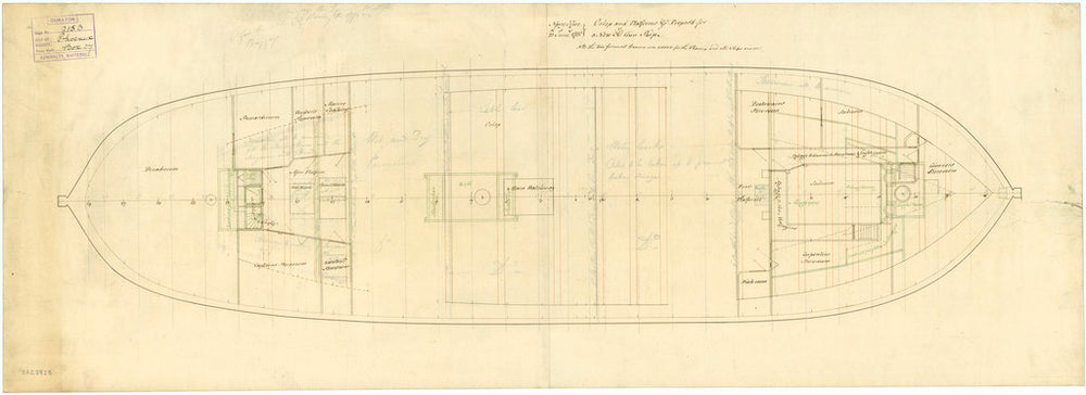 Deck, orlop plan for Phoenix (1783)