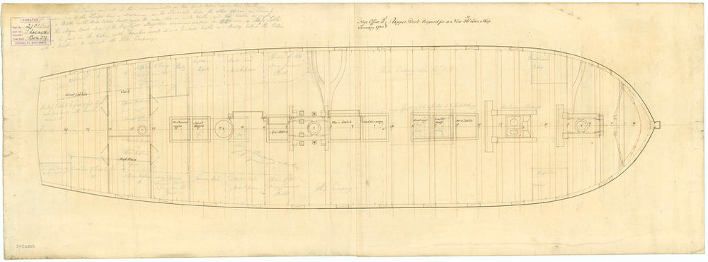 Upper deck plan of 'Phoenix' (1783)