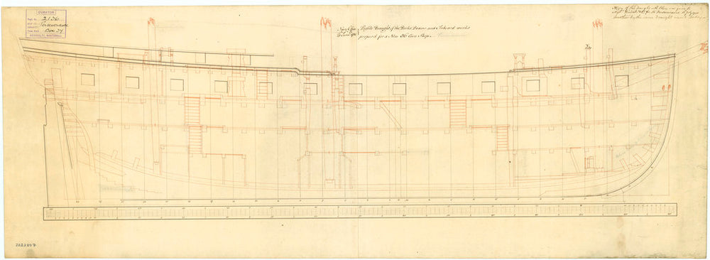 Inboard profile plan of Leda (1783) and Perseverance (1781)