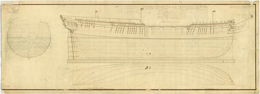 Lines plan for Leda (1783) and Perseverance (1781)