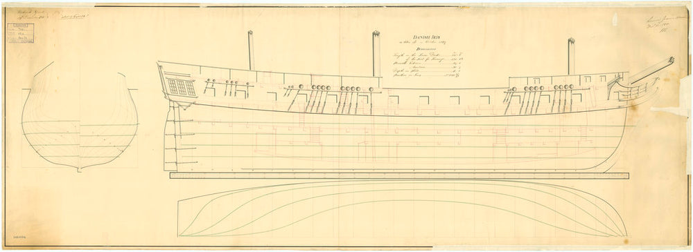 Lines & profile plan for 'Iris' (1807)