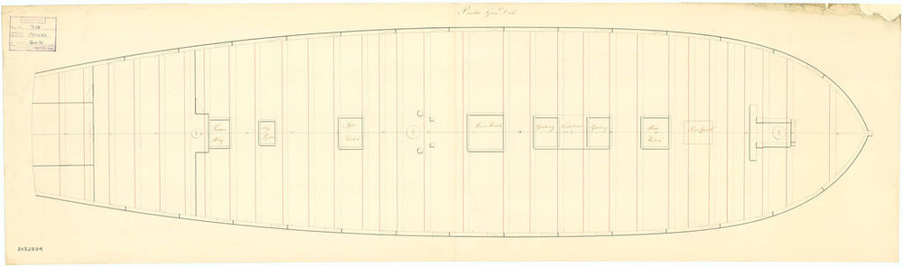 Deck and gun plan of 'Prueba' (1804) - Spanish
