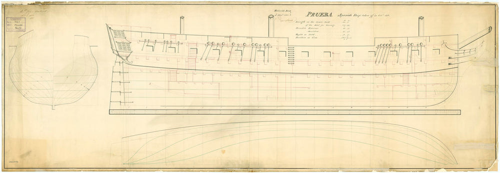 Lines and profile plan of the Spanish 'Prueba' (1804)
