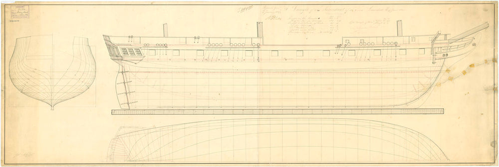 Lines plan for Inconstant (1836)