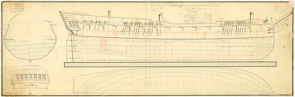 Lines and profile plan for vessels 'Hamadryad' (1804) and captured Spanish ship 'Matilda' fl. (1804)