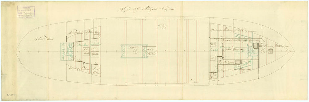Deck, orlop plan for Sirius (1797)