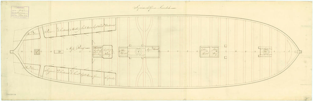 Lower deck plan for Sirius (1797)