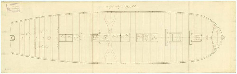 Upper deck plan for Sirius (1797)