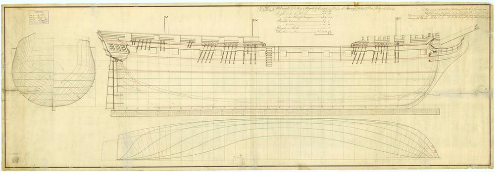 Lines plan for Sirius (1797)