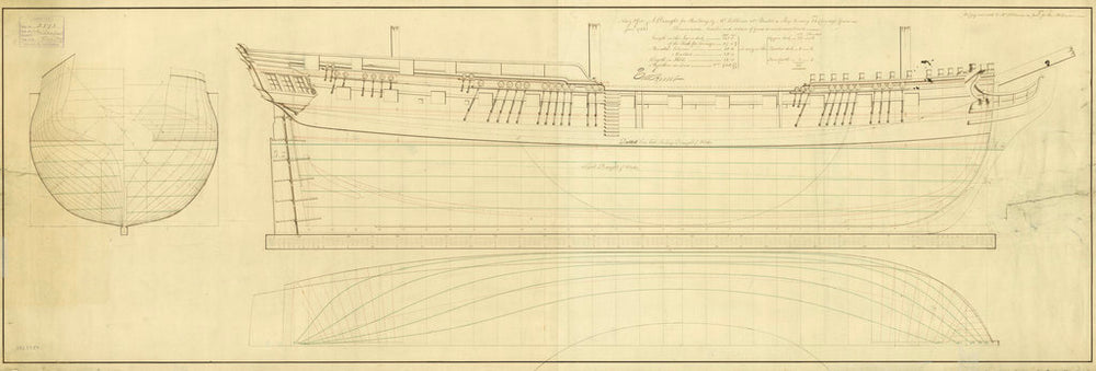 Lines plans of 'Melampus' (1785)