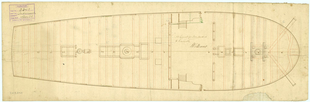 Deck, quarter & forecastle plan of Andromache (1781)