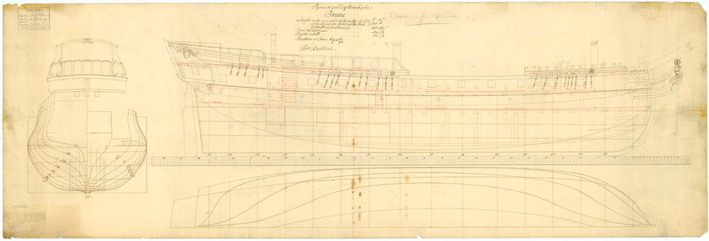 Lines & profile plans of the 'Brune' (1761)