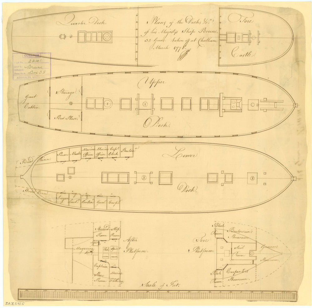 Deck plan of the 'Brune' (1761)