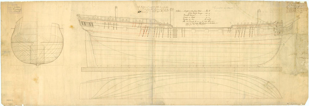Lines plan of 'Glory' (1763)