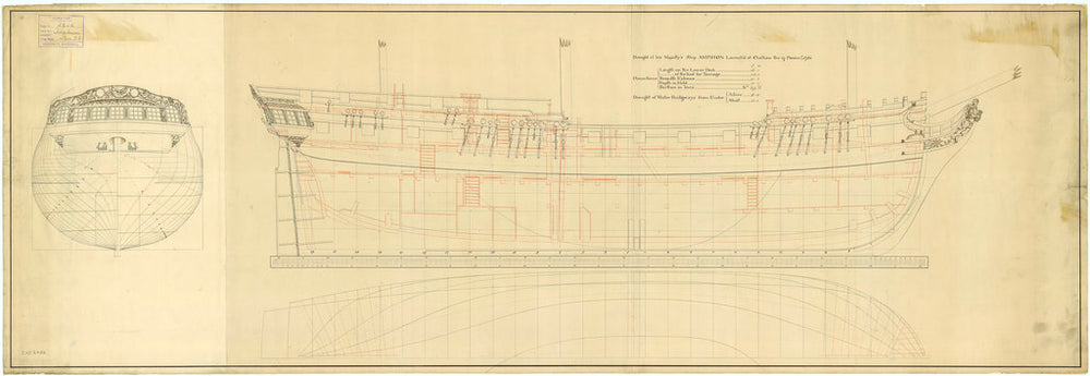 Lines and profile plan of Amphion (1780)