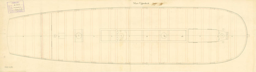Upper deck plan for 'Mars' (fl. 1781)