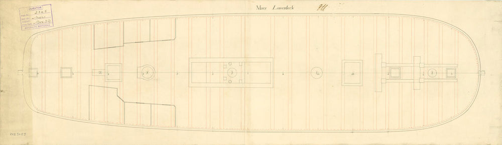 Lower deck plan for 'Mars' (fl. 1781)