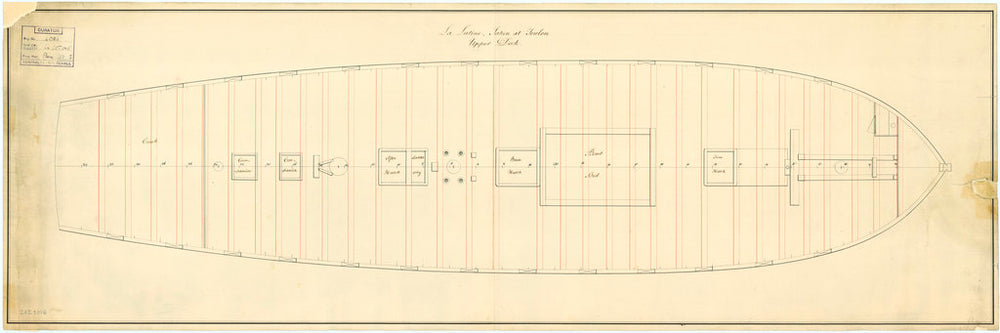 Upper deck plan of the Lutine (fl, 1793)