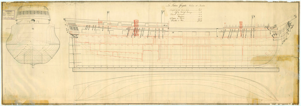 Lines & profile plan of the Lutine (fl, 1793)