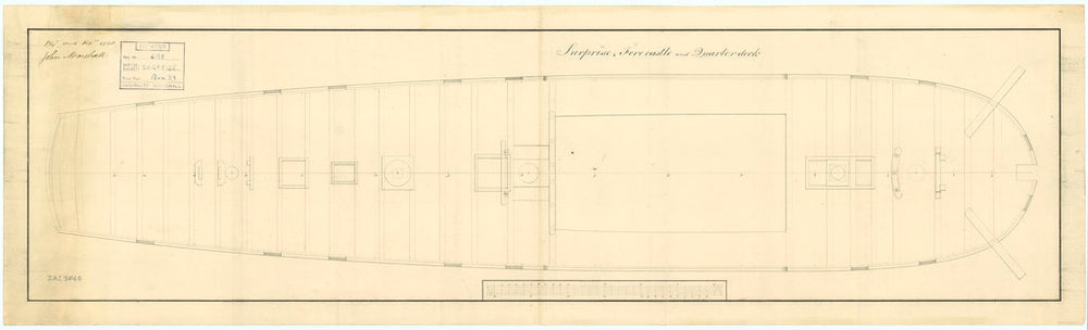 Plan of HMS 'Surprise', 1796,  deck, quarter & forecastle.