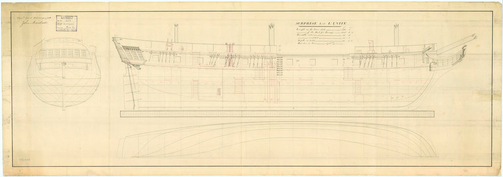 Plan of HMS 'Surprise', 1796,  lines and profile.