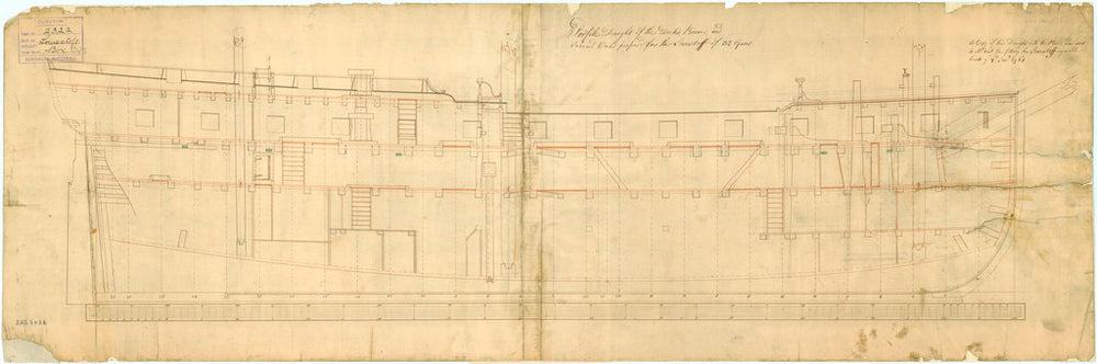 Inboard profile plan of 'Lowestoffe' (1761)