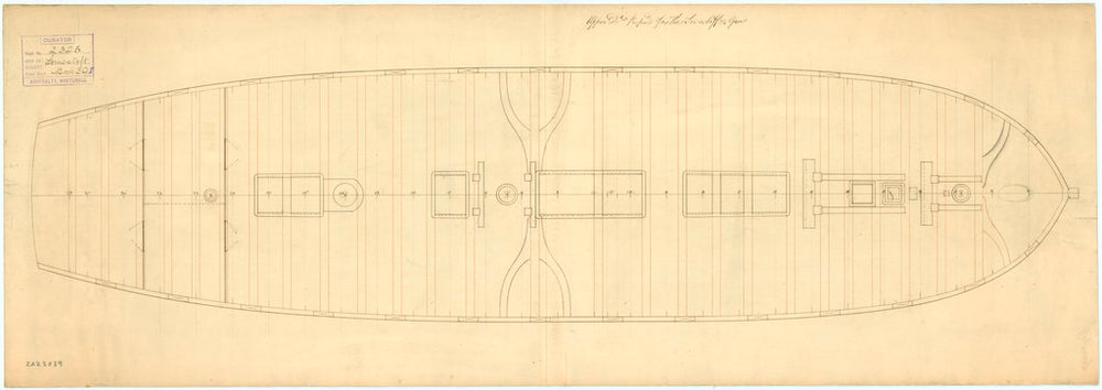 Upper deck plan of 'Lowestoffe' (1761)