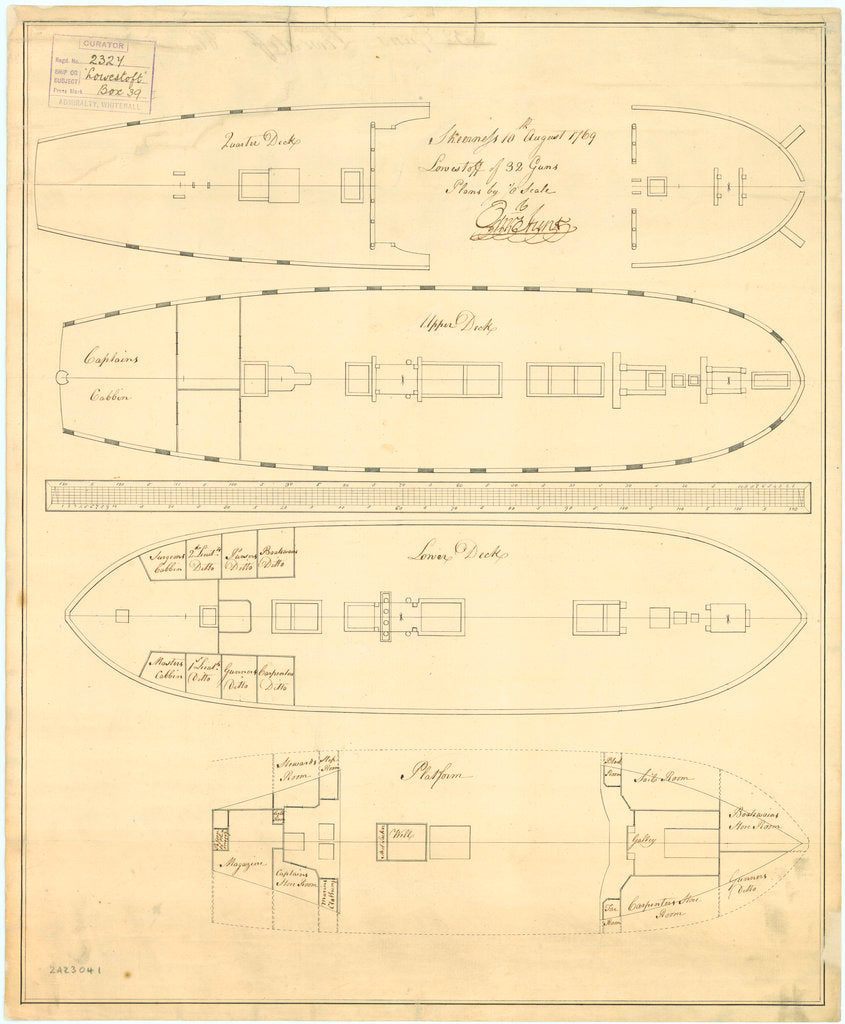 Deck plan of 'Lowestoffe' (1761)