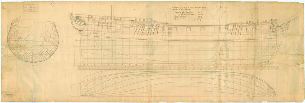 Lines plan for 'Lowestoffe' (1761)