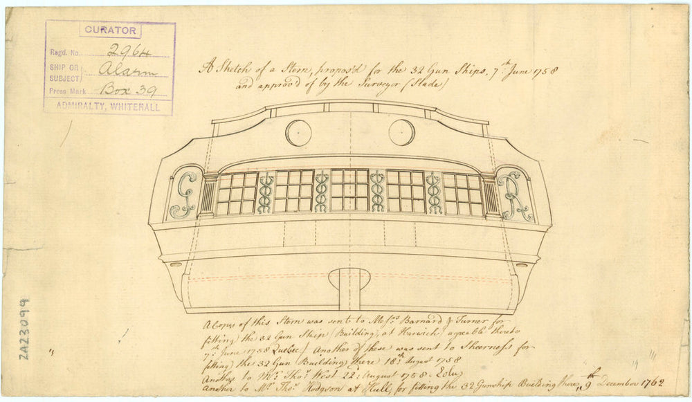 Stern plan drawing of 'Alarm' (1758)
