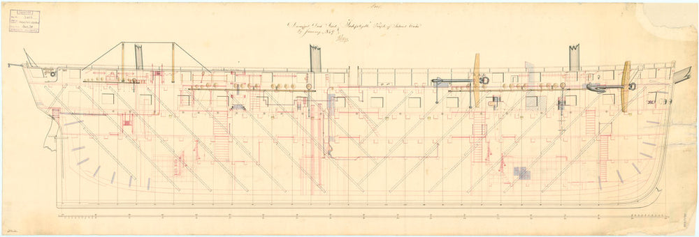 Inboard profile plan of the 'Indefatigable' (1848)
