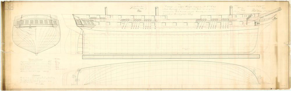 Lines plan of the 'Indefatigable' (1848)