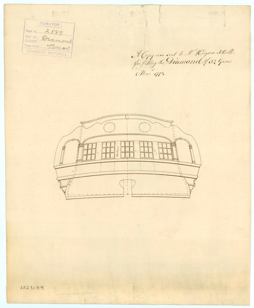 Stern plan of 'Diamond' (1774)