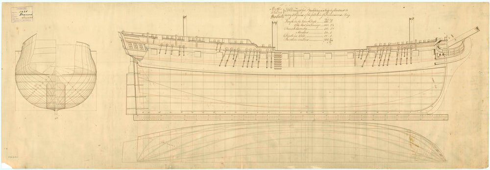 Body plan, sheer lines, longitudinal half breadth plan of 'Orpheus' (1773) and 'Diamond' (1774)