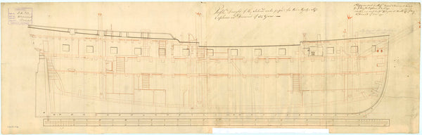 Inboard profile plan of 'Orpheus' (1773) and 'Diamond' (1774)