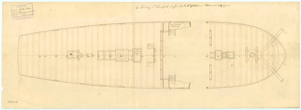 Quarter deck and forecastle plan of 'Orpheus' (1773) and 'Diamond' (1774)