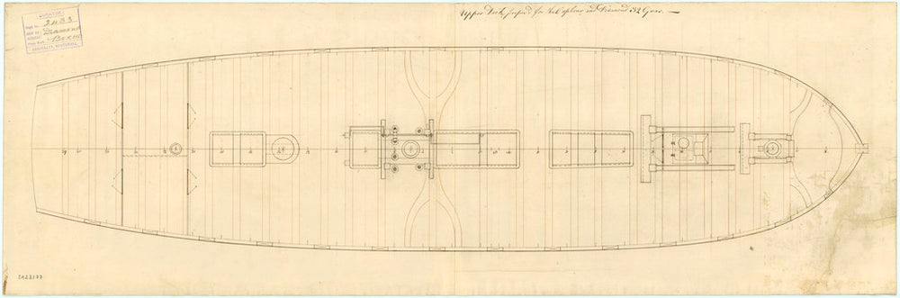 Upper deck plan for 'Diamond' (1774) and 'Orpheus' (1773)