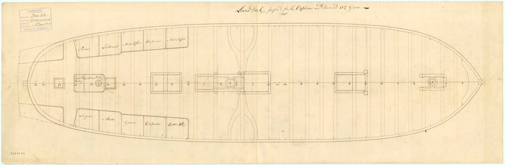 Lower deck plan of 'Diamond' (1774) and 'Orpheus' (1773)