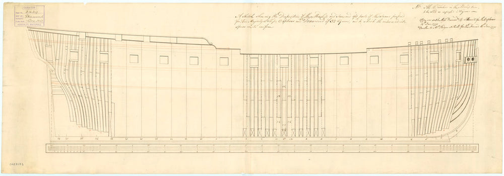 Frame plan for 'Diamond' (1774) and 'Orpheus' (1773)