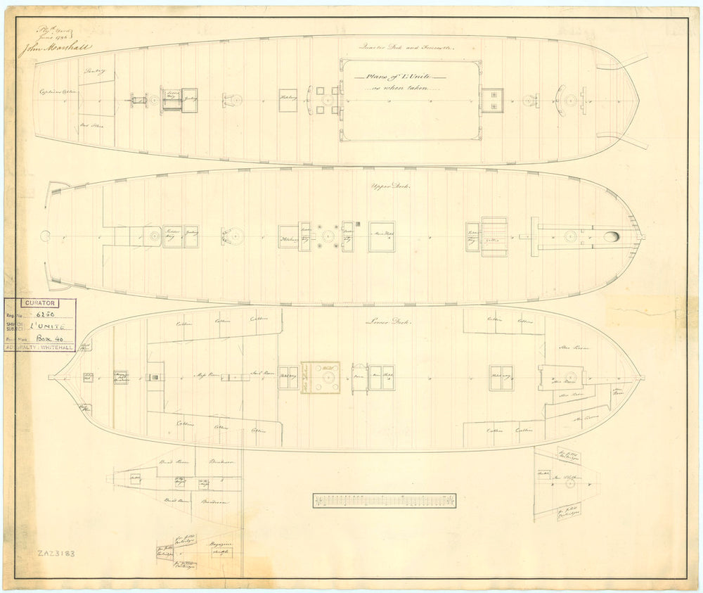 Plan showing the quater deck and forecastle, upper deck, lower deck, fore and aft platforms for for 'Unite' (1796)