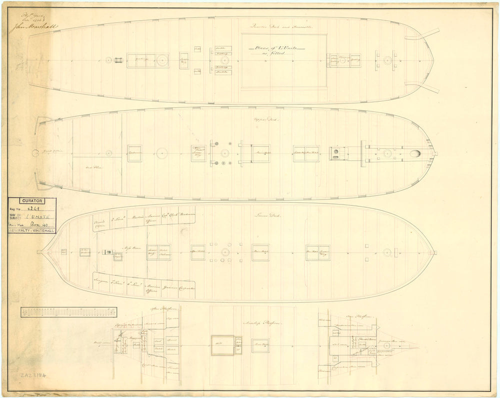 Plan showing the quarter deck and forecastle, upper deck, lower deck, midship platform with fore and aft platforms for for Unite (1796)