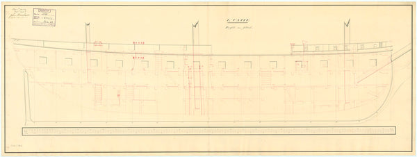 Plan showing the inboard profile plan for 'Unite' (1796)