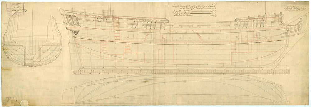 Lines and profile plan of HMS 'Queenborough' (1747)