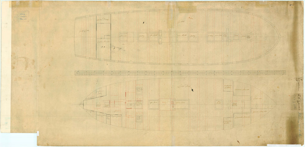 Plan of lower gun & orlop deck for Lyme (1748)