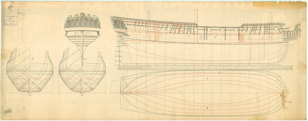 Lines and profile plan for a Dutch 24 gun ship, mid 18th Century