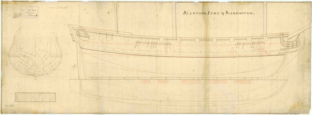 Ship plan of Lyme, Blandford and Scarborough (1720)