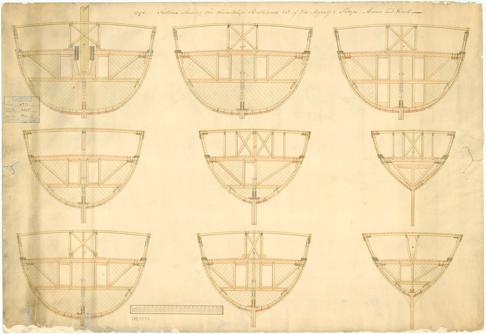 Bulkhead plan for 'Arrow' (1796)