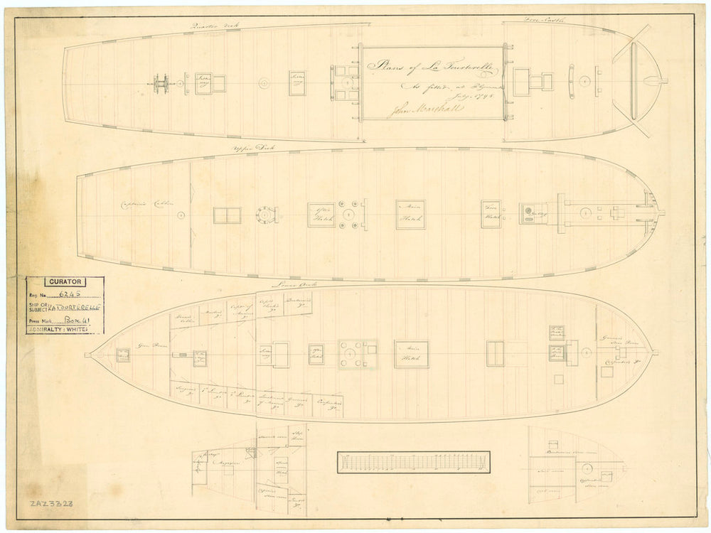 Plan showing the quarter deck and forecastle, upper deck, lower deck and fore & aft platforms for the 'Tourterelle' (1795)