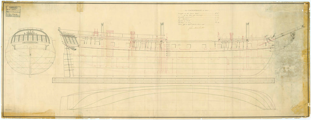 Plan showing the body plan with stern board detail and name in a cartouche on the counter, sheer lines with inboard detail and figurehead and longitudinal half breadth for the 'Tourterelle' (1795)